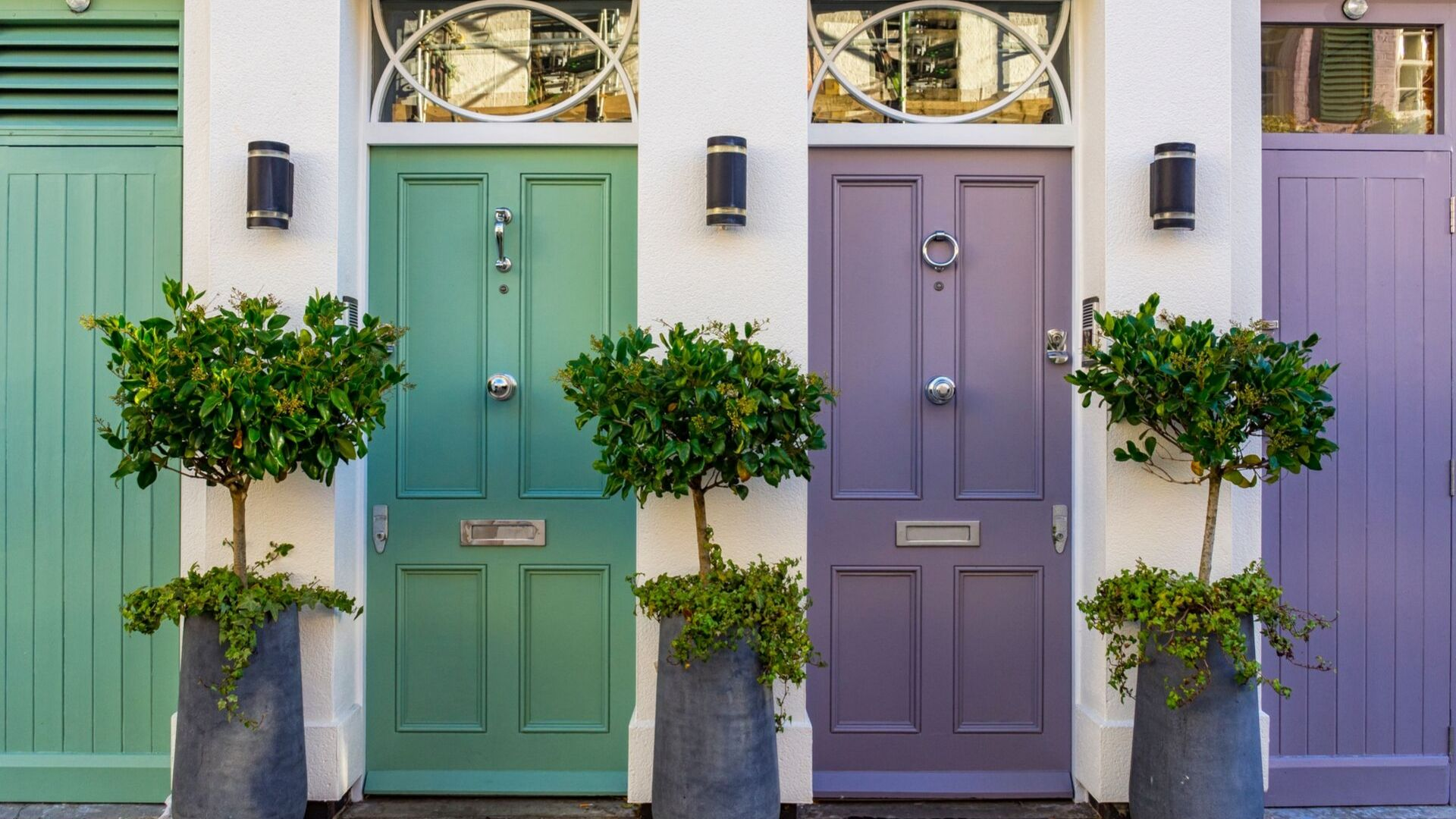 picture of two front doors, one has green paint and the lilac with bay trees either side of teh doors